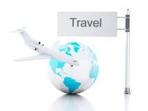 3d reiskoffer, vliegtuig en wereldbol reis concept Royalty-vrije Stock Fotografie