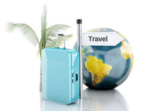 3d reiskoffer, vliegtuig en wereldbol reis concept Stock Fotografie