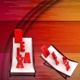 3d relax text on chair illustration Royalty Free Stock Photography