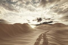 3d remdering of desert landscape with footsteps. In the evening sunlight Stock Image