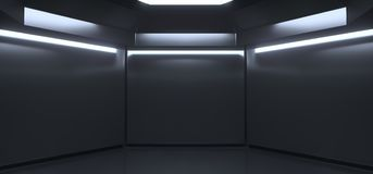 Realistic Empty Dark Room With Lights. 3D Rencering Of Realistic Empty Dark Room With Lights Royalty Free Stock Images