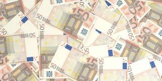 3d rendant 50 billets de banque d'euros Photos libres de droits