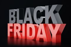 3D rendant Black Friday, message de vente pour la boutique Bannière de magasin de houblonnage d'affaires pour Black Friday Vente  Photo stock