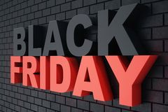 3D rendant Black Friday, message de vente pour la boutique Bannière de magasin de houblonnage d'affaires pour Black Friday Vente  Images libres de droits