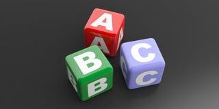 3d rendant des cubes en ABC sur le fond noir Image stock