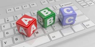 3d rendant des cubes en ABC sur un clavier blanc Photographie stock