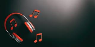 3d rendant des paires d'écouteurs et de notes sans fil rouges de musique Images stock
