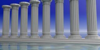 3d rendant huit piliers de marbre blancs Photographie stock
