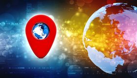 3d rendant l'indicateur rouge de carte avec le globe Concept de navigation Illustration de Vecteur