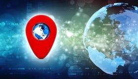 3d rendant l'indicateur rouge de carte avec le globe Concept de navigation Illustration Libre de Droits
