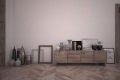 3d rendant l'intérieur de la pièce avec le buffet en bois et fournissant des accessoires Photos stock
