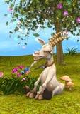 3D rendant la chèvre heureuse Photos libres de droits