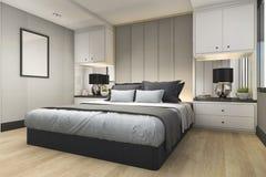 3d rendant la chambre à coucher bleue de luxe moderne avec le décor de marbre Image libre de droits