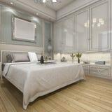 3d rendant la chambre à coucher classique de luxe moderne avec le vintage incorporé Images stock