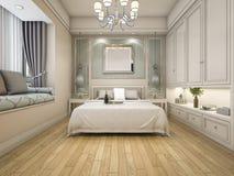3d rendant la chambre à coucher classique de luxe moderne avec le vintage incorporé Photos libres de droits