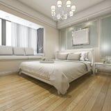3d rendant la chambre à coucher classique de luxe moderne avec le vintage incorporé Photographie stock