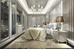 3d rendant la chambre à coucher classique de luxe moderne avec la promenade dans le cabinet Image stock