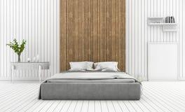 3d rendant la chambre à coucher en bois blanche moderne de mur avec la lampe illustration libre de droits