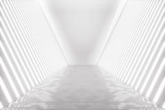 3D rendant la pièce abstraite intérieure avec les lampes au néon Fond futuriste d'architecture Maquette pour votre conception Photographie stock