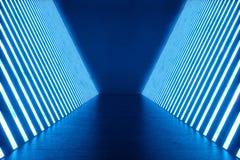 3D rendant la pièce bleue abstraite intérieure avec les lampes au néon bleues Fond futuriste d'architecture Maquette pour le votr Photo stock