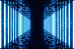3D rendant la pièce bleue abstraite intérieure avec les lampes au néon bleues Fond futuriste d'architecture Maquette pour le votr Images stock