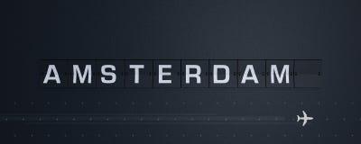 3d rendant la secousse des textes d'Amsterdam du panneau des départs de panneau d'affichage d'aéroport illustration de vecteur