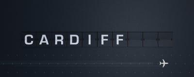 3d rendant la secousse des textes de Cardiff du panneau des départs de panneau d'affichage d'aéroport illustration de vecteur
