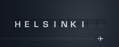 3d rendant la secousse des textes de Helsinki du panneau des départs de panneau d'affichage d'aéroport illustration stock