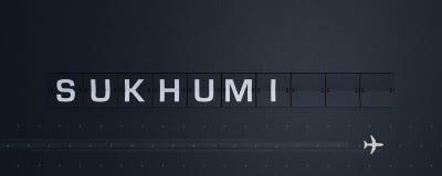 3d rendant la secousse des textes de Soukhoumi du panneau des départs de panneau d'affichage d'aéroport illustration de vecteur