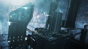 3D rendant la station spatiale impressionnante illustration de vecteur