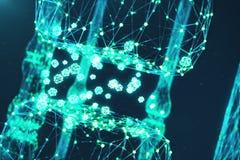 3D rendant la synapse rougeoyante bleue Neurone artificiel dans le concept de l'intelligence artificielle Lignes de transmission  Photographie stock