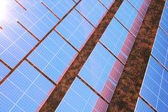 3D rendant la technologie de production d'électricité solaire Énergie de substitution Modules de panneau de batterie solaire avec Photos stock