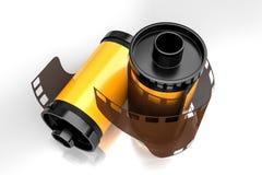 3d rendant la vue d'angle supérieur de l'appareil-photo jaune de film roule Photo libre de droits