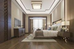 3d rendant le beau mobilier pour chambre à coucher chinois de luxe dans l'hôtel avec la TV illustration libre de droits