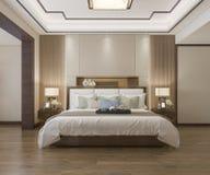 3d rendant le beau mobilier pour chambre à coucher chinois de luxe dans l'hôtel avec la TV illustration de vecteur