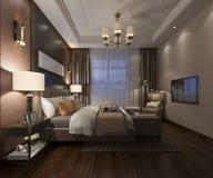 3d rendant le beau mobilier pour chambre à coucher de luxe dans l'hôtel avec la TV illustration libre de droits