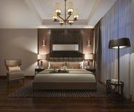3d rendant le beau mobilier pour chambre à coucher de luxe dans l'hôtel avec la TV illustration de vecteur