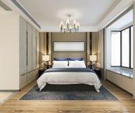 3d rendant le beau mobilier pour chambre à coucher de luxe dans l'hôtel avec la TV illustration stock
