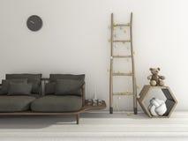 3d rendant le beau sofa noir mou avec le décor scandinave de style pour des enfants illustration de vecteur