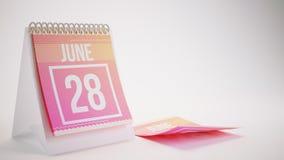 3D rendant le calendrier à la mode de couleurs sur le fond blanc - 2 juin Photos libres de droits