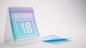 3D rendant le calendrier à la mode de couleurs sur le fond blanc - octobe Images stock