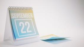 3D rendant le calendrier à la mode de couleurs sur le fond blanc - septem Photo stock