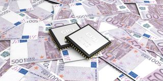 3d rendant le circuit électronique sur le fond de 500 billets de banque d'euros Images stock