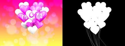 3D rendant le coeur blanc et rose de forme monte en ballon avec le mot de maman Photos libres de droits
