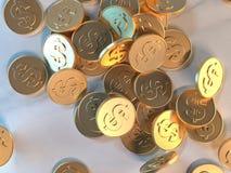 3d rendant le concept d'économie d'affaires de symbole du dollar de pièce d'or illustration libre de droits