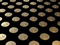 3d rendant le concept d'économie d'affaires de symbole du dollar de pièce d'or illustration stock
