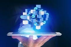 3d rendant le cube bleu et blanc sur une interface futuriste Photos stock