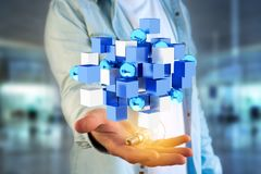 3d rendant le cube bleu et blanc sur une interface futuriste Image libre de droits