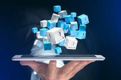 3d rendant le cube bleu et blanc sur une interface futuriste Photo stock