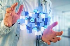 3d rendant le cube bleu et blanc sur une interface futuriste Photographie stock libre de droits